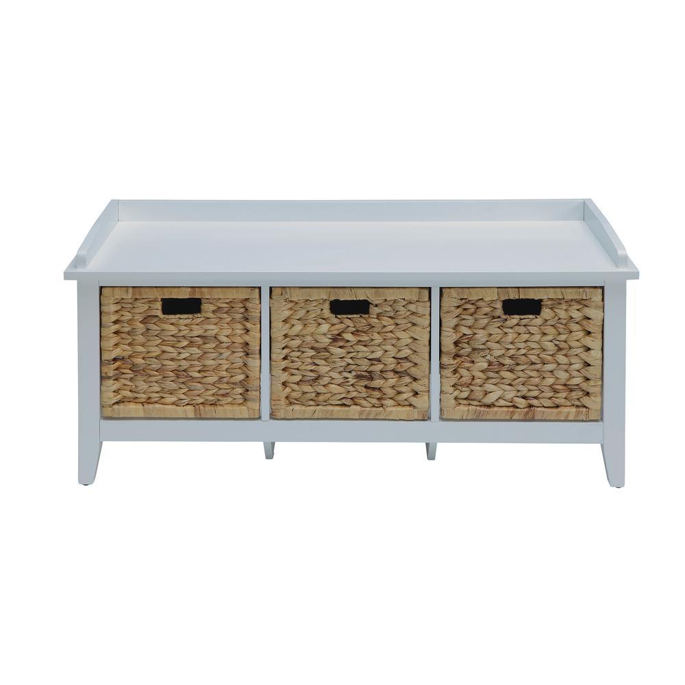 Flavius White Storage Bench
