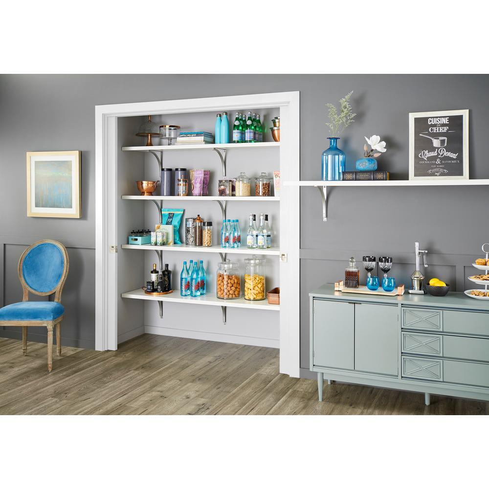 White - 1 Tier - Wood Closet Shelves - Closet Shelves - The
