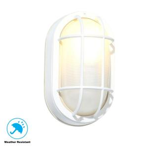 Hampton Bay White Outdoor Oval Bulkhead Wall Light Hb8822p 06 The Home Depot