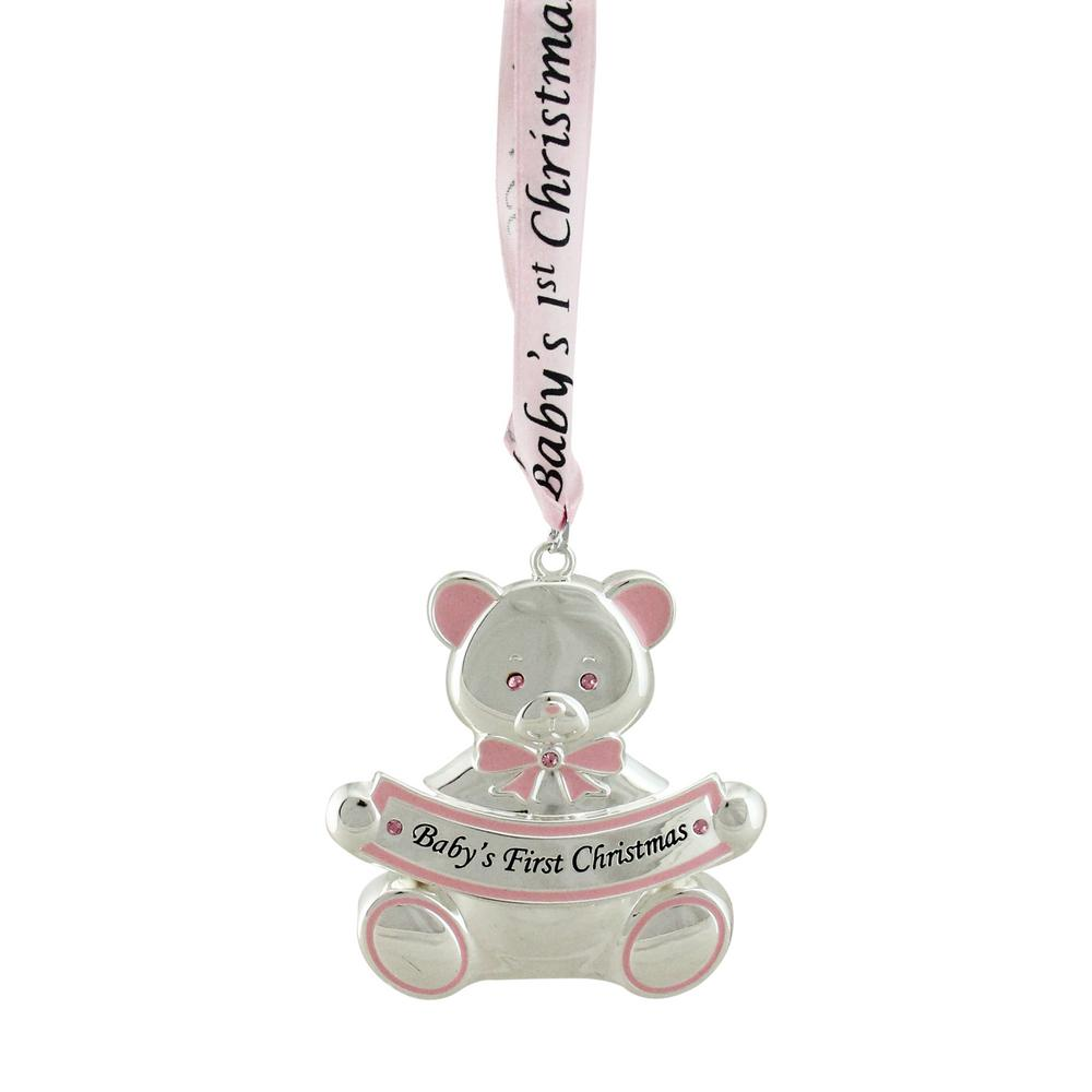 pink teddy bear babys first christmas silver plated christmas ornament