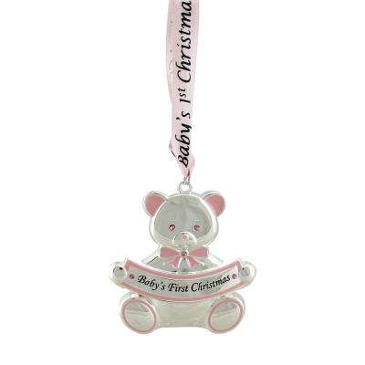 3 in. Pink Teddy Bear Baby's First Christmas Silver Plated Christmas Ornament