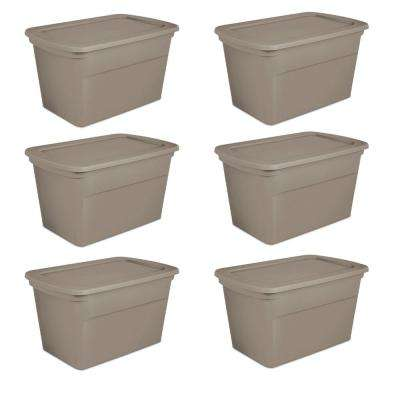 30 Gallon Plastic Stackable Storage Tote Container Box, Taupe (6 Pack)