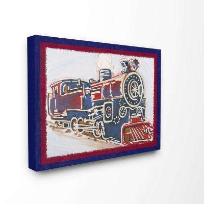 "16 in. x 20 in. ""Blue And Red Vintage Train"" by Reesa Qualia Printed Canvas Wall Art"