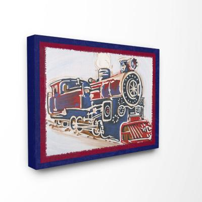 """16 in. x 20 in. """"Blue And Red Vintage Train"""" by Reesa Qualia Printed Canvas Wall Art"""