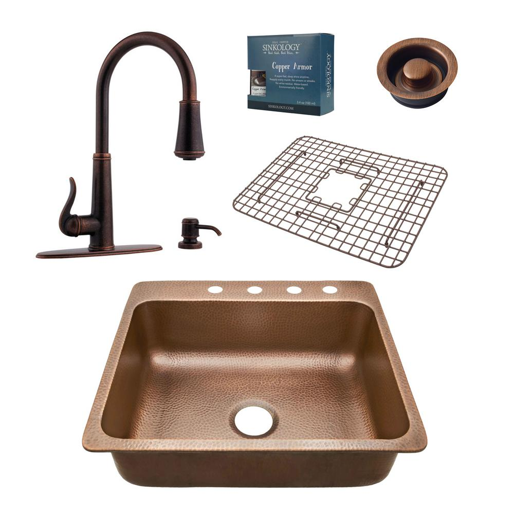 SINKOLOGY Rosa All-in-One Drop-in Copper 25 in. 4-Hole Single Bowl Kitchen Sink with Pfister Bronze Faucet and Disposal Drain