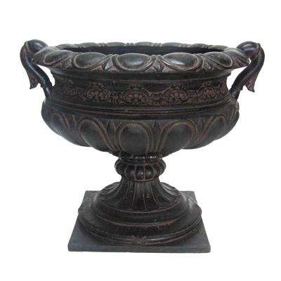 24-1/4 in. x 21 in. x 19-1/4 in. Cast Stone Urn with Handles in Aged Charcoal
