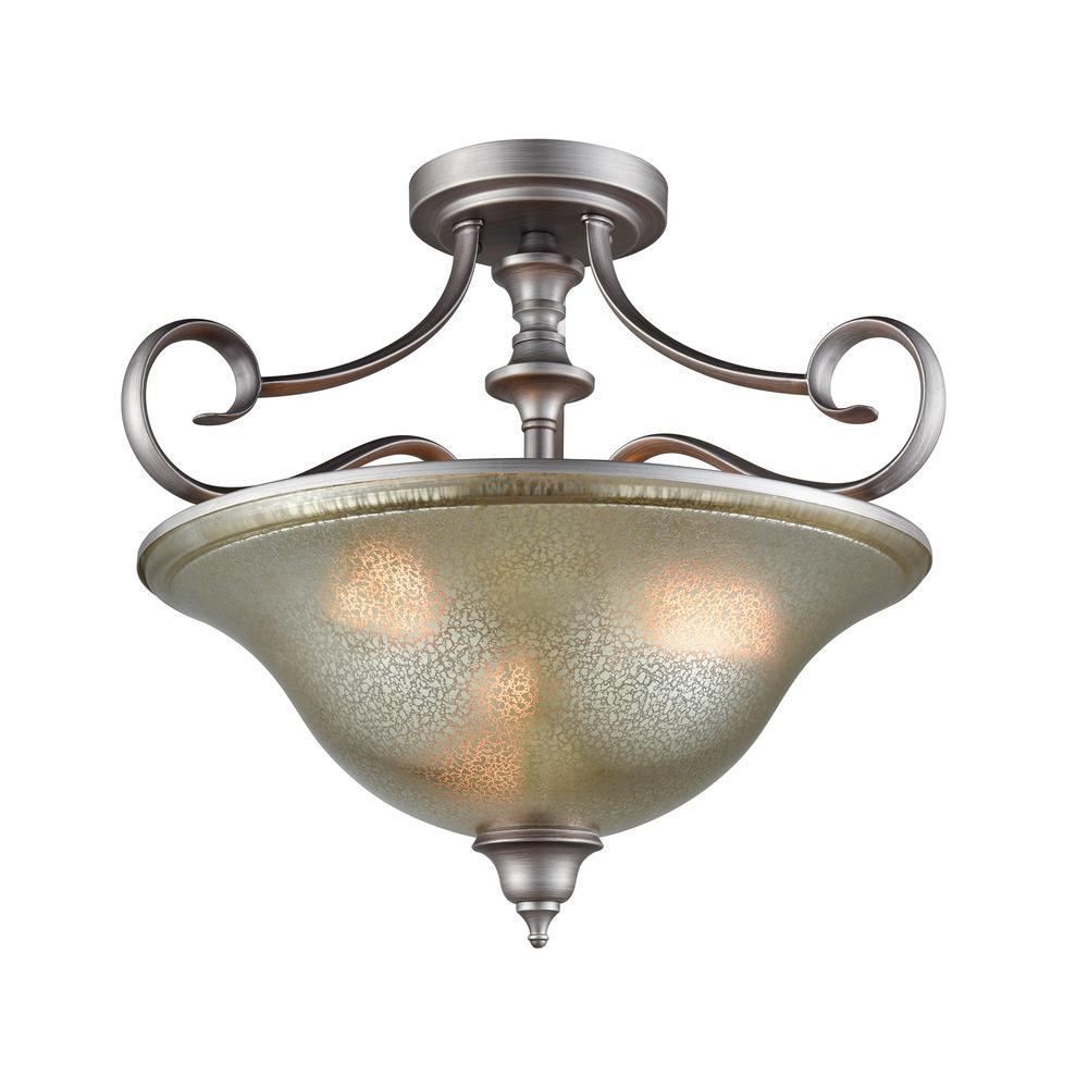 Georgetown 3-Light Weathered Zinc With Mercury Glass Semi-Flushmount
