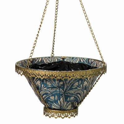 Gold Avignon Hanging Planter With Blue Liner