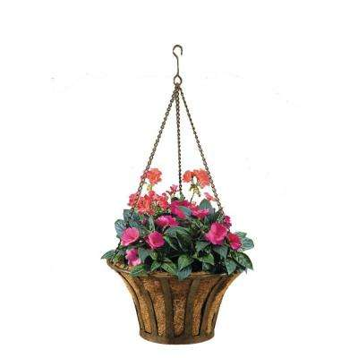Solera 15 in. Round Metal Hanging Basket with Coco Liner