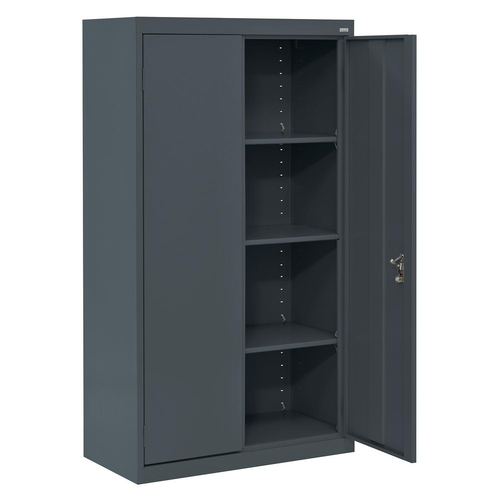 Sandusky System Series 30 in. W x 64 in. H x 18 in. D Charcoal Double Door Storage Cabinet with Adjustable Shelves