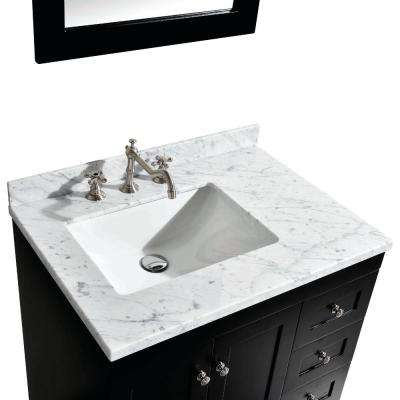 Acclaim 30.5 in. W x 22 in. D x 34 in. H Vanity in Espresso with Carrara Marble Vanity Top in White with White Basin