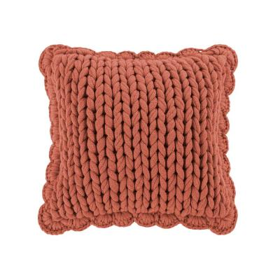 Chunky Knitted Coral Polyster 14 in. x 14 in. Decorative Throw Pillow