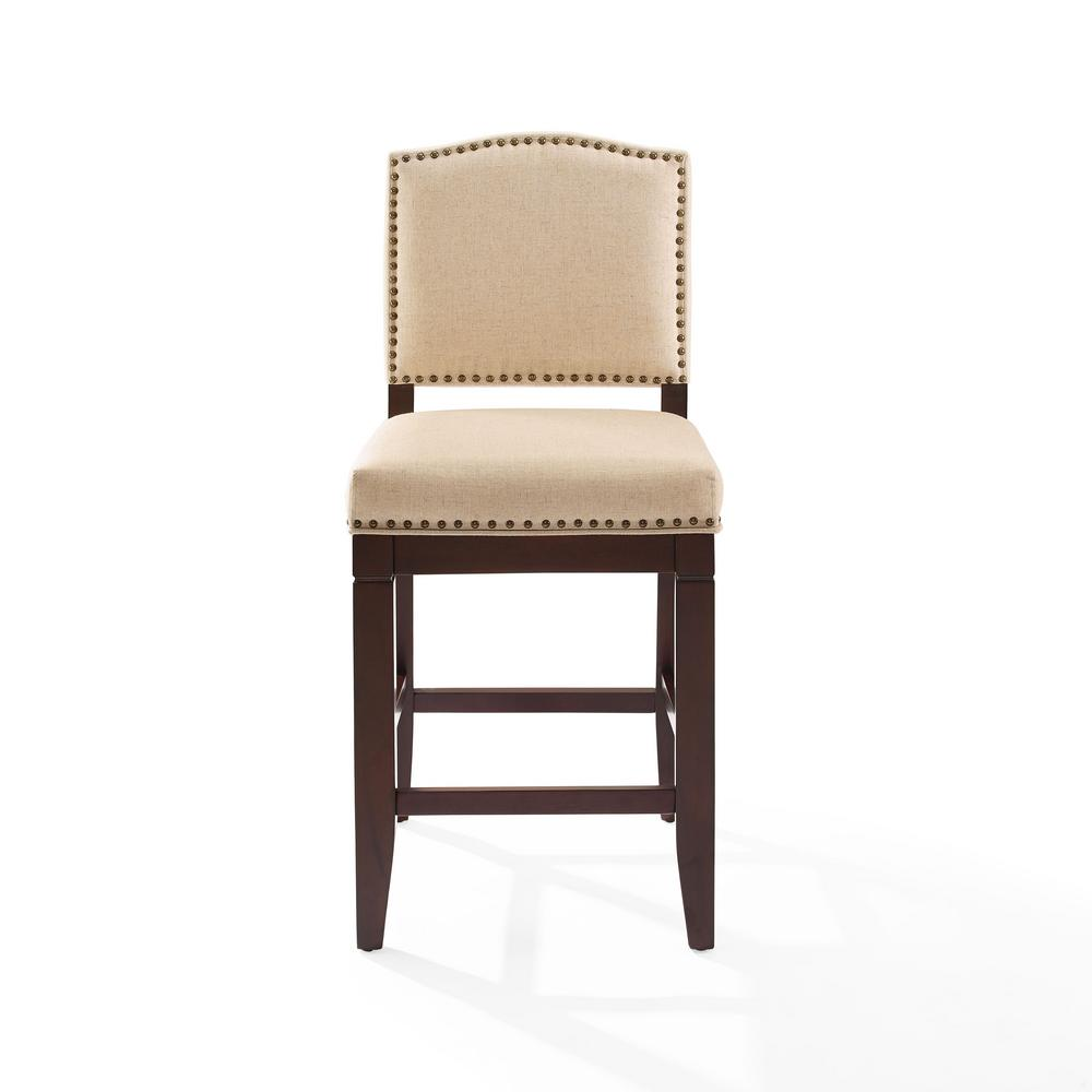 Crosley Bryson Counter Stool Mahogany Brown Oatmeal Cushion Product Picture