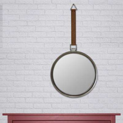 33 in. x 17 in. Brown Metal Trimmed Mirror with Hanging Faux Leather Strap