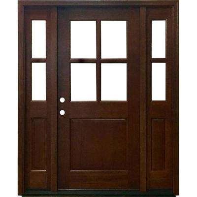 60 In X 80 In Farmhouse Ashville Right Hand Inswing Chestnut Stained Wood Prehung Front Door