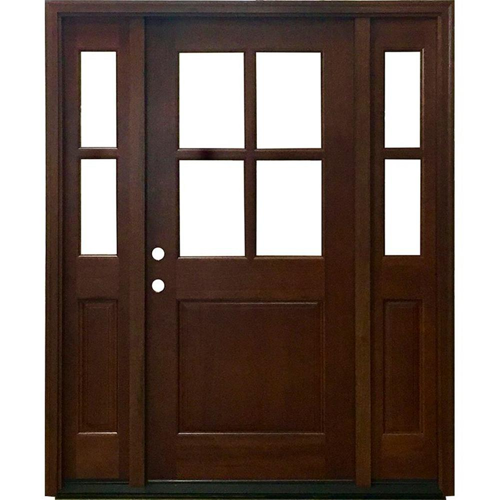 Steves Sons 60 In X 80 In Farmhouse Ashville Right Hand Inswing Chestnut Stained Wood Prehung Front Door M4410 103610 Ct 6irh The Home Depot
