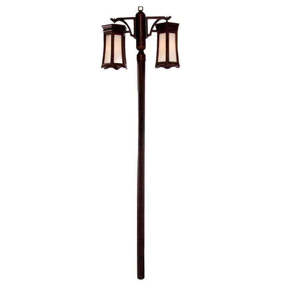 Acclaim Lighting Milano Collection Post-Mount 2-Light Outdoor Black Coral Light Fixture