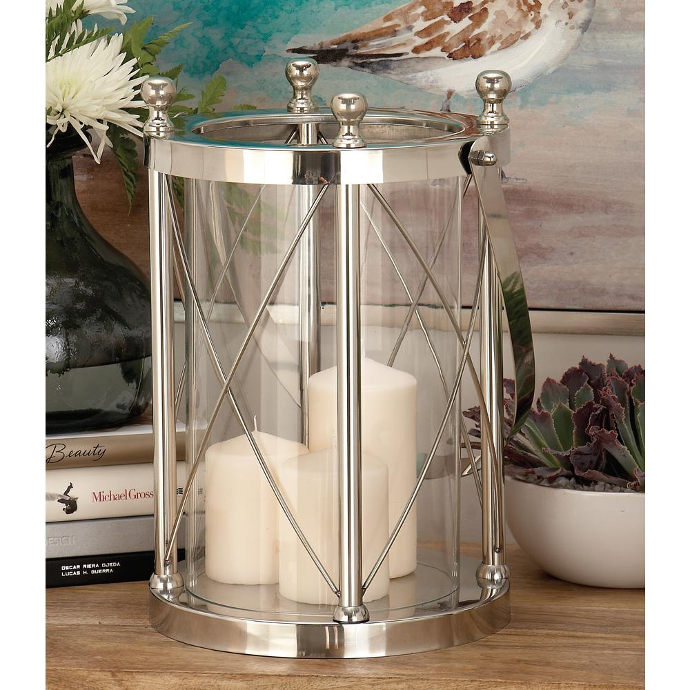 23 in. Silver Stainless Steel and Clear Glass Round Lantern Candle