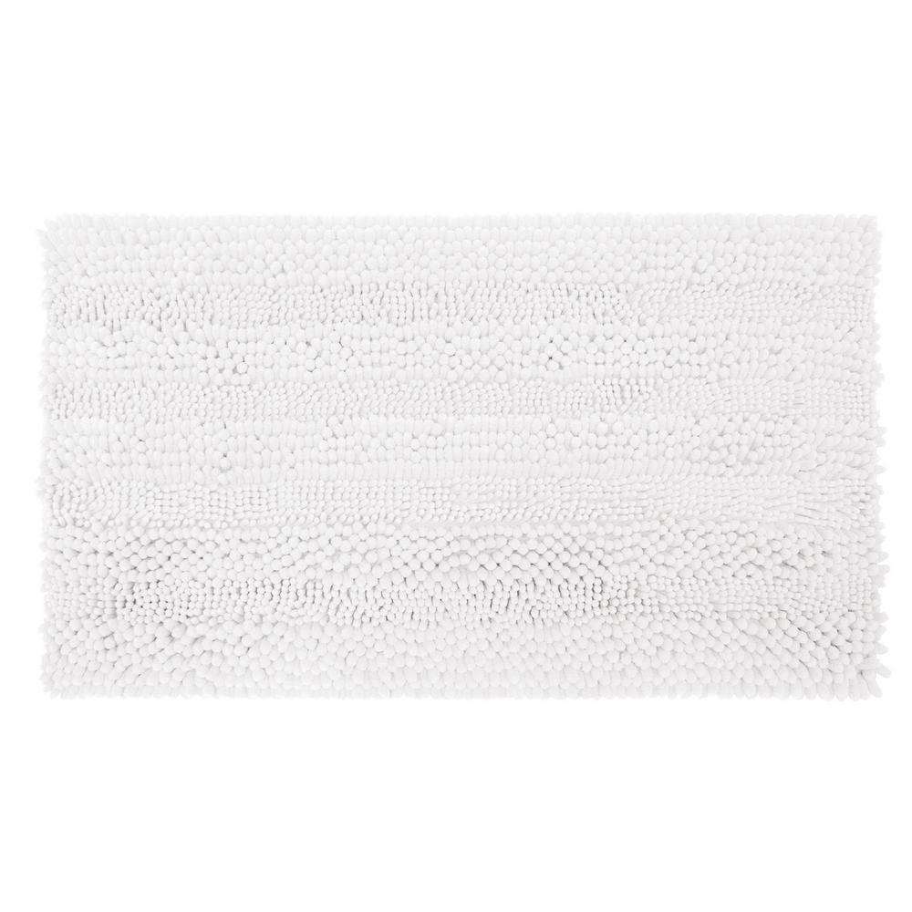 Astor Striped Plush Chenille 20 in. x 34 in. Bath Mat