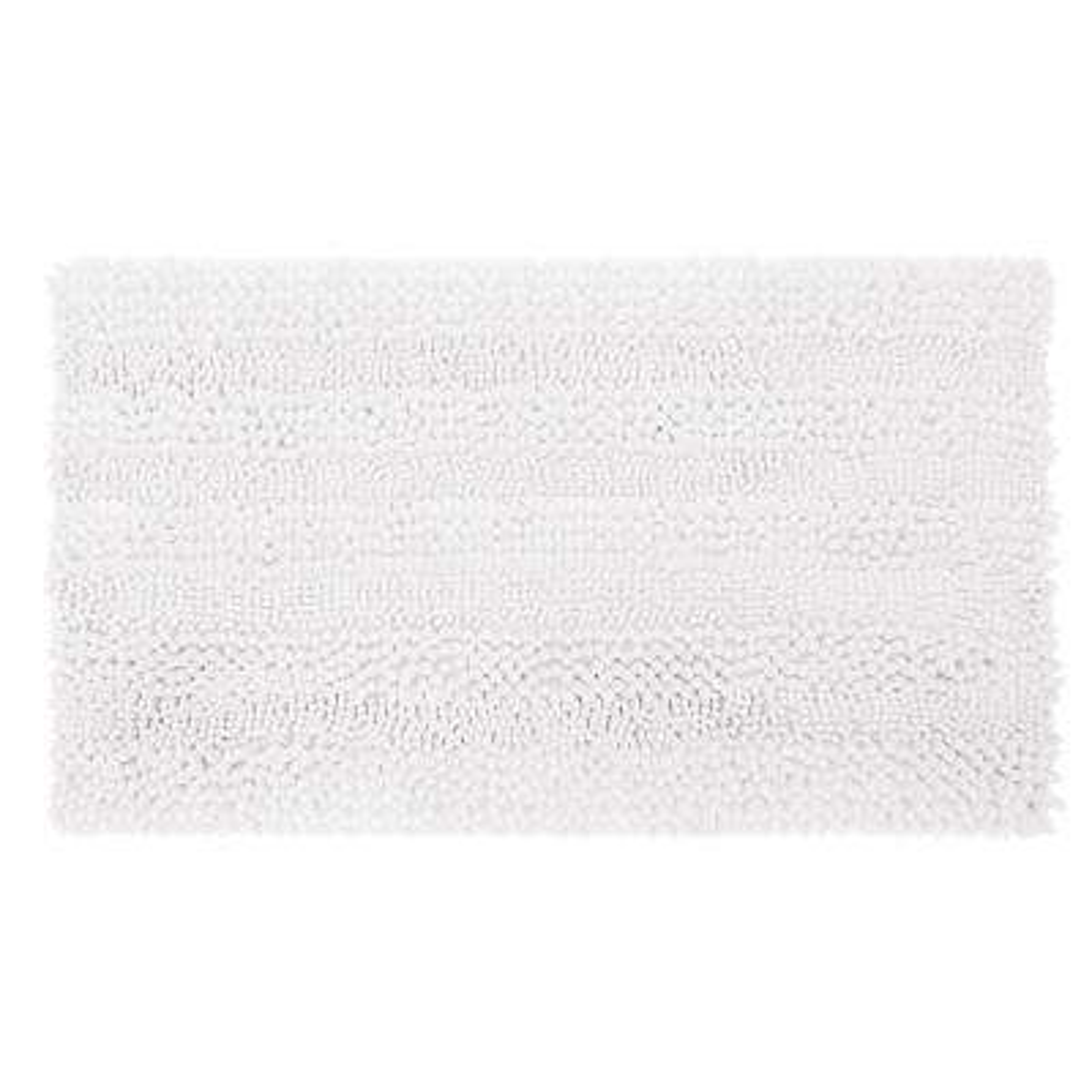 Astor Striped Plush Chenille 20 in. x 34 in. Bath Mat in White