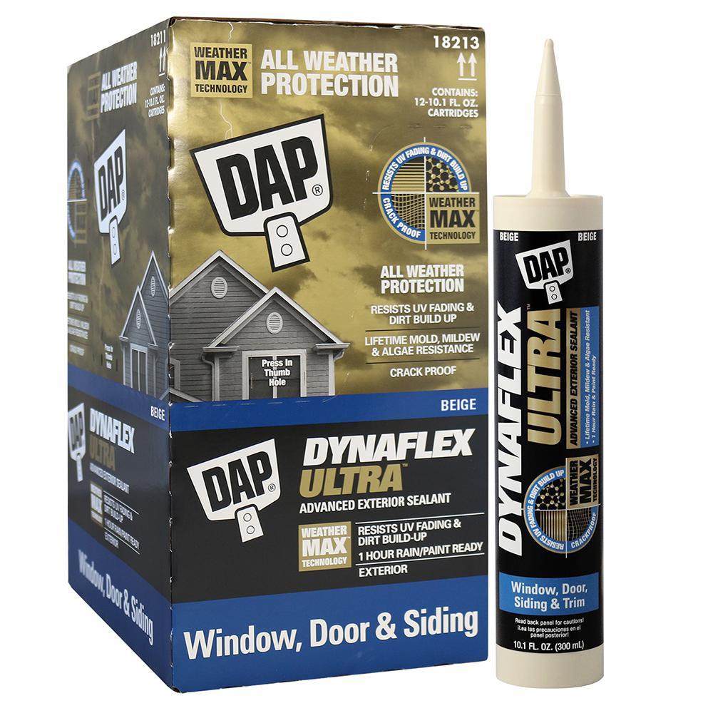 Dap Dynaflex Ultra 10 1 Oz Beige Advanced Exterior Window Door And Siding Sealant 12 Pack 7079818213 The Home Depot