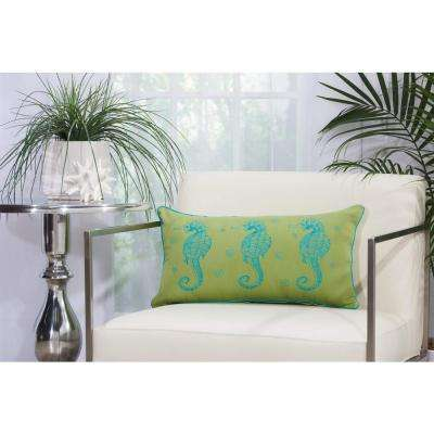 3 Seahorses 12 in. x 22 in. Green and Turquoise Indoor and Outdoor Pillow