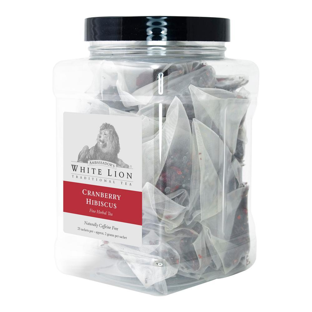 Tea Cranberry Hibiscus 25 Bulk Sachets Retail Canister Tea Bags Sachets (25 per Pack)