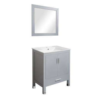 Armani 27.5 in. W x 18 in. D x 35 in. H Vanity in Gray with Ceramic White Basin and Mirror