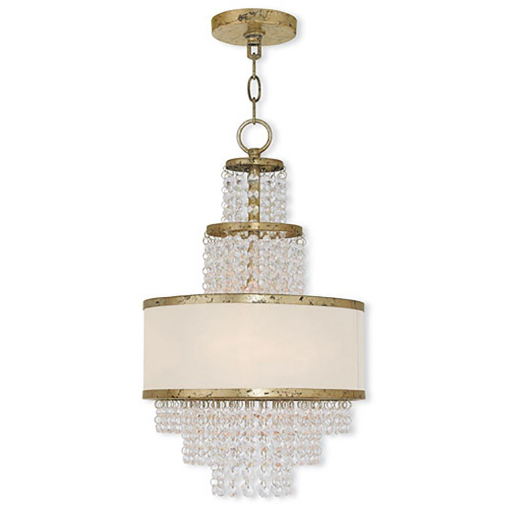 Prescott 3-Light Winter Gold Mini Chandelier with Clear Crystals/ Hand Crafted