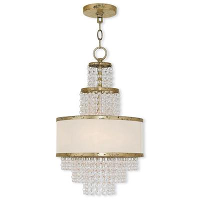 Prescott 3-Light Winter Gold Mini Chandelier with Clear Crystals/ Hand Crafted Off-White Sheer Organza Shade
