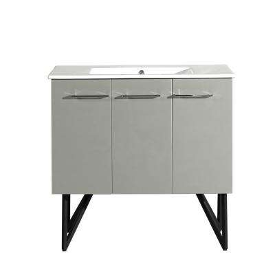 Annecy 36 in. Single, 2-Door, 1 Drawer Bathroom Vanity in Gray with White Basin