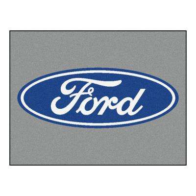Ford Oval Gray 3 ft. x 3 ft. 6 in. Indoor Accent Rug