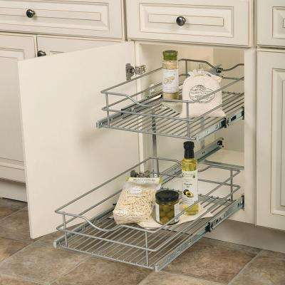 14.625 in. W x 21.75 in. D x 16.25 in. H Double Tier Pull-Out Multi-Use Basket Cabinet Organizer
