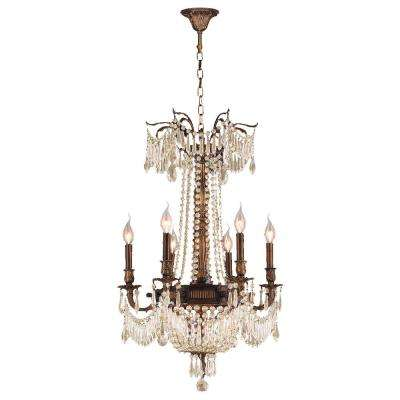 Clearance chandeliers lighting the home depot winchester 9 light antique bronze chandelier with golden teak crystal mozeypictures Images