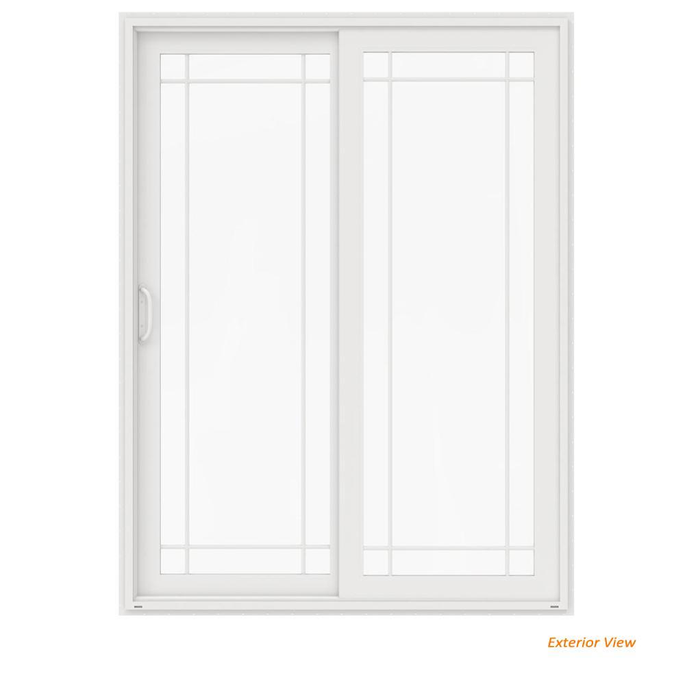 60 in. x 96 in. V-4500 White Vinyl Right-Hand 9 Lite Sliding Patio Door