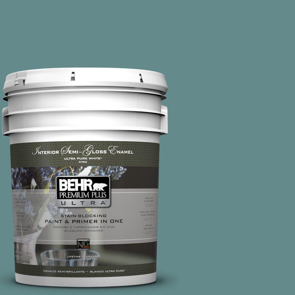 BEHR Premium Plus Ultra 5-gal. #S440-5 Tasmanian Sea Semi-Gloss Enamel Interior Paint