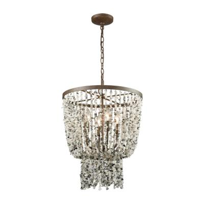 Agate Stones 4-Light Round Weathered Bronze Chandelier with Gray Agate Stones Shade