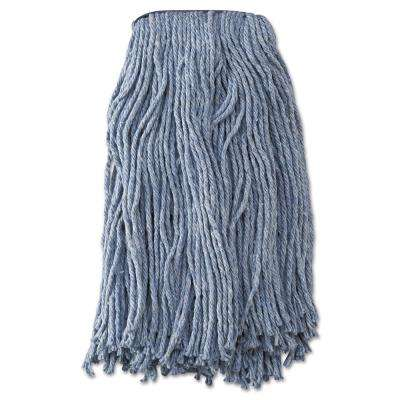 Mop Head, Standard Head, Cotton/Synthetic Fiber, Cut-End, #20, Blue, 12/Carton