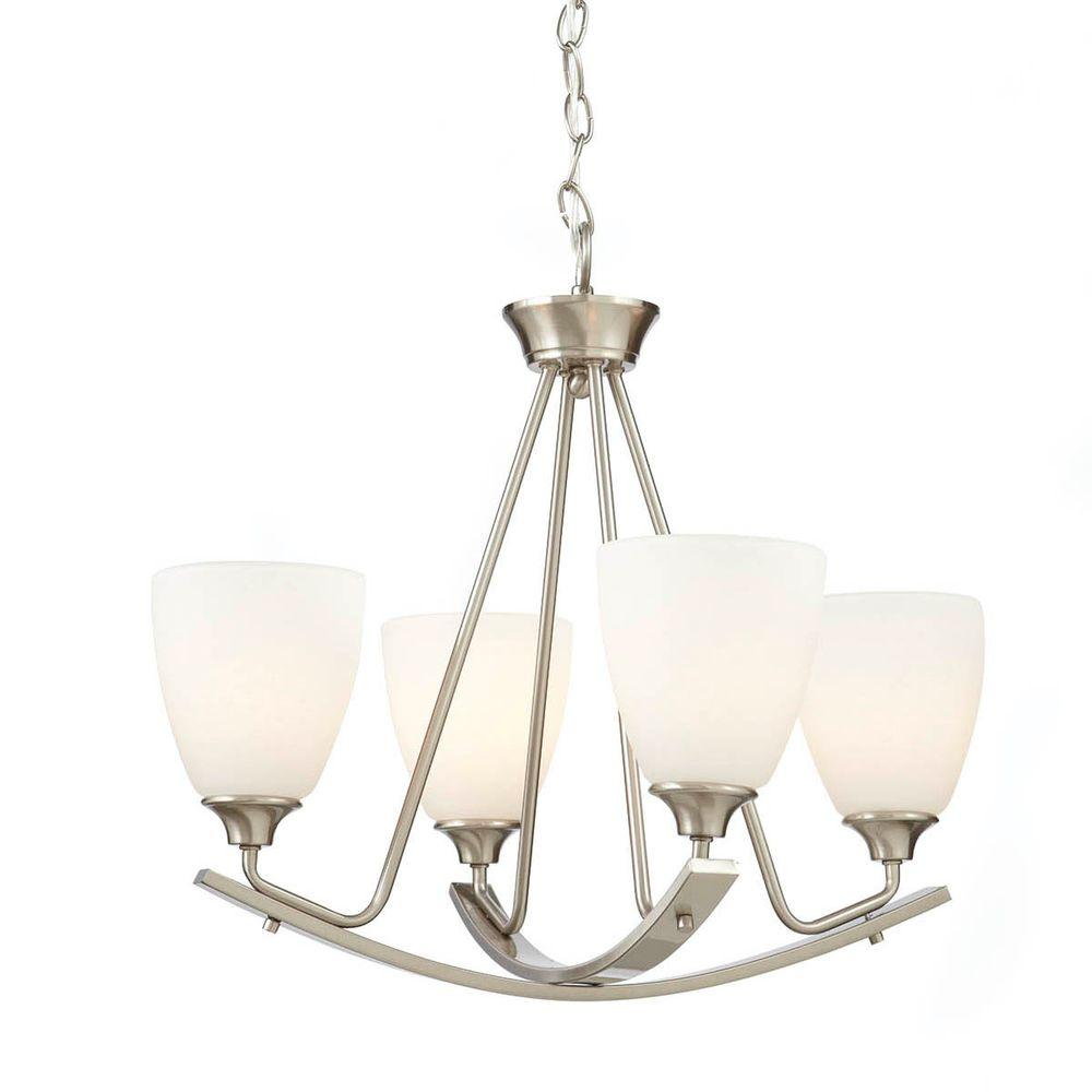 Stansbury Collection 22 in. 4-Light Brushed Nickel Chandelier with Etched