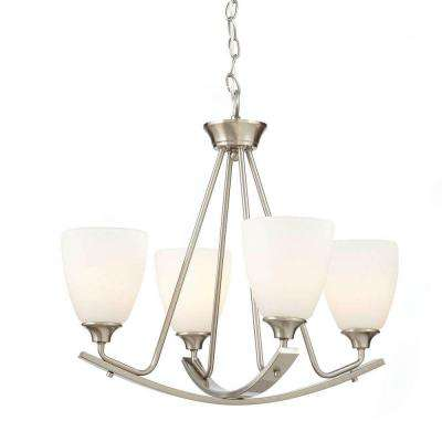 Stansbury Collection 4-Light Brushed Nickel Chandelier with Shade
