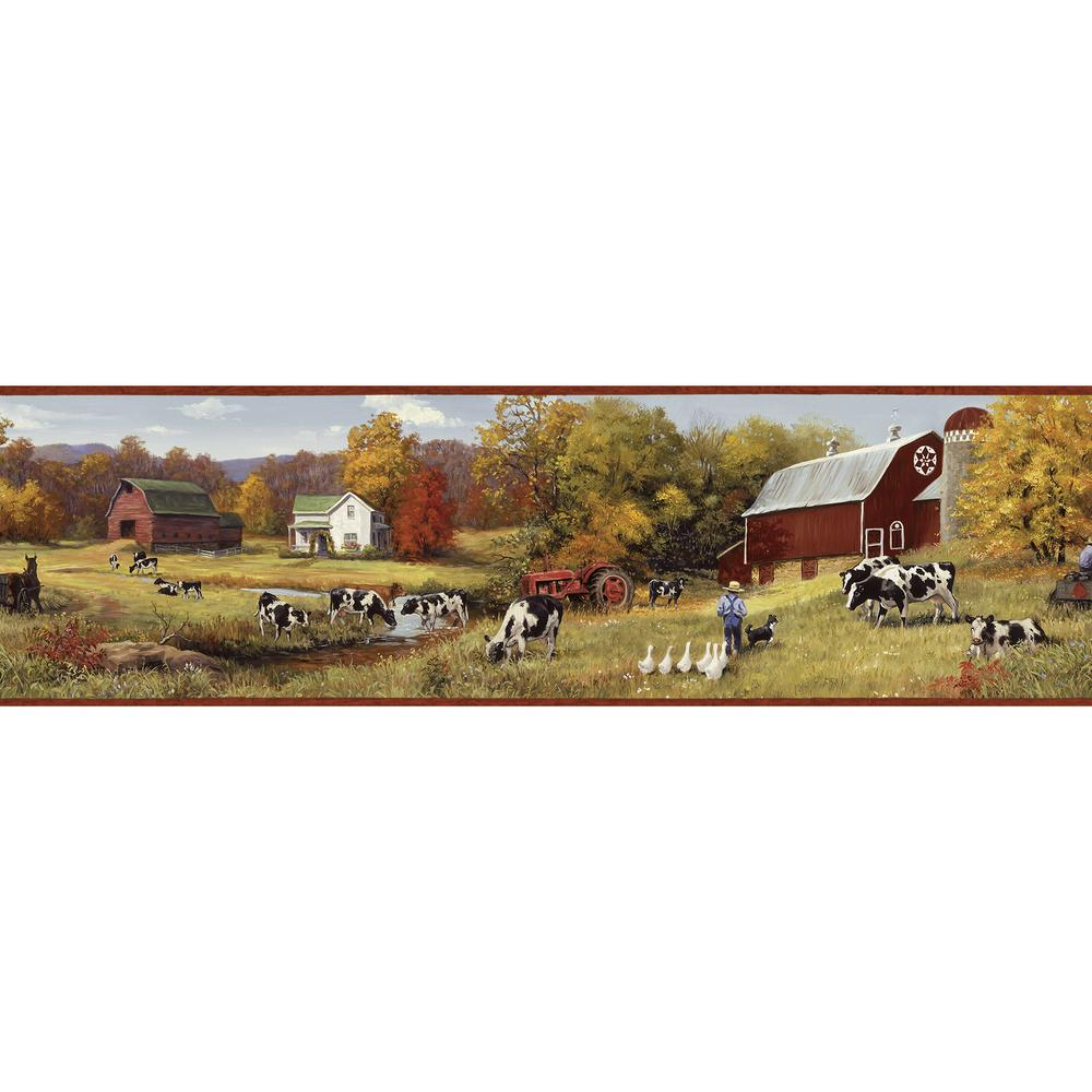 Herman Green Cow Pasture Portrait Wallpaper Border Sample