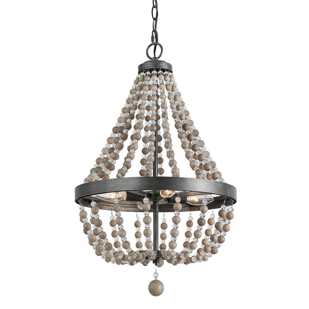 Lnc 4 Light Black 16 In Wood Bead Empire Bohemian Lighting Chandelier