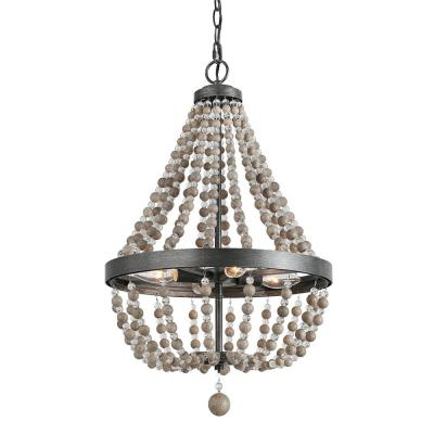 4-Light Black 16 in. Wood Bead Empire Bohemian Lighting Chandelier