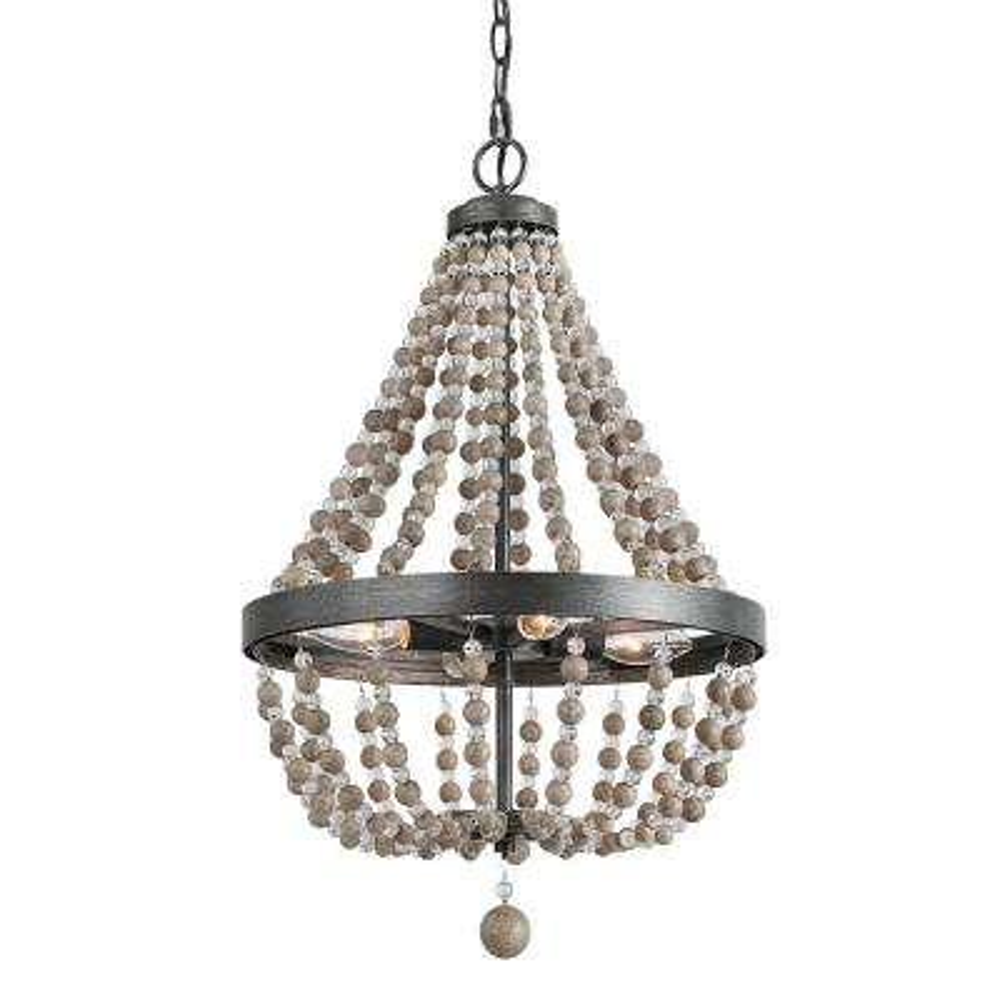 4-Light Black 16 in. Wood Bead Empire Bohemian Lighting Chandelier