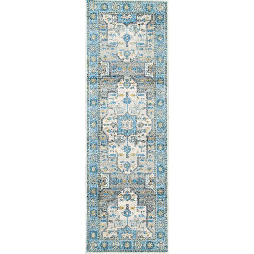 Tenesha Tribal Medallion Light Blue 2 ft. 8 in. x 8 ft. Runner Rug