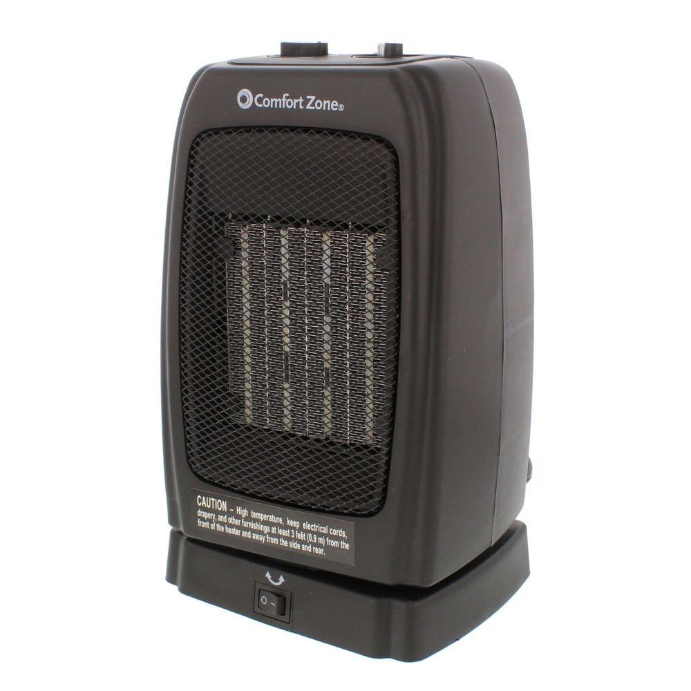 ComfortZone Comfort Zone 1,500-Watt Ceramic Electric Portable Heater with Oscillation - Black