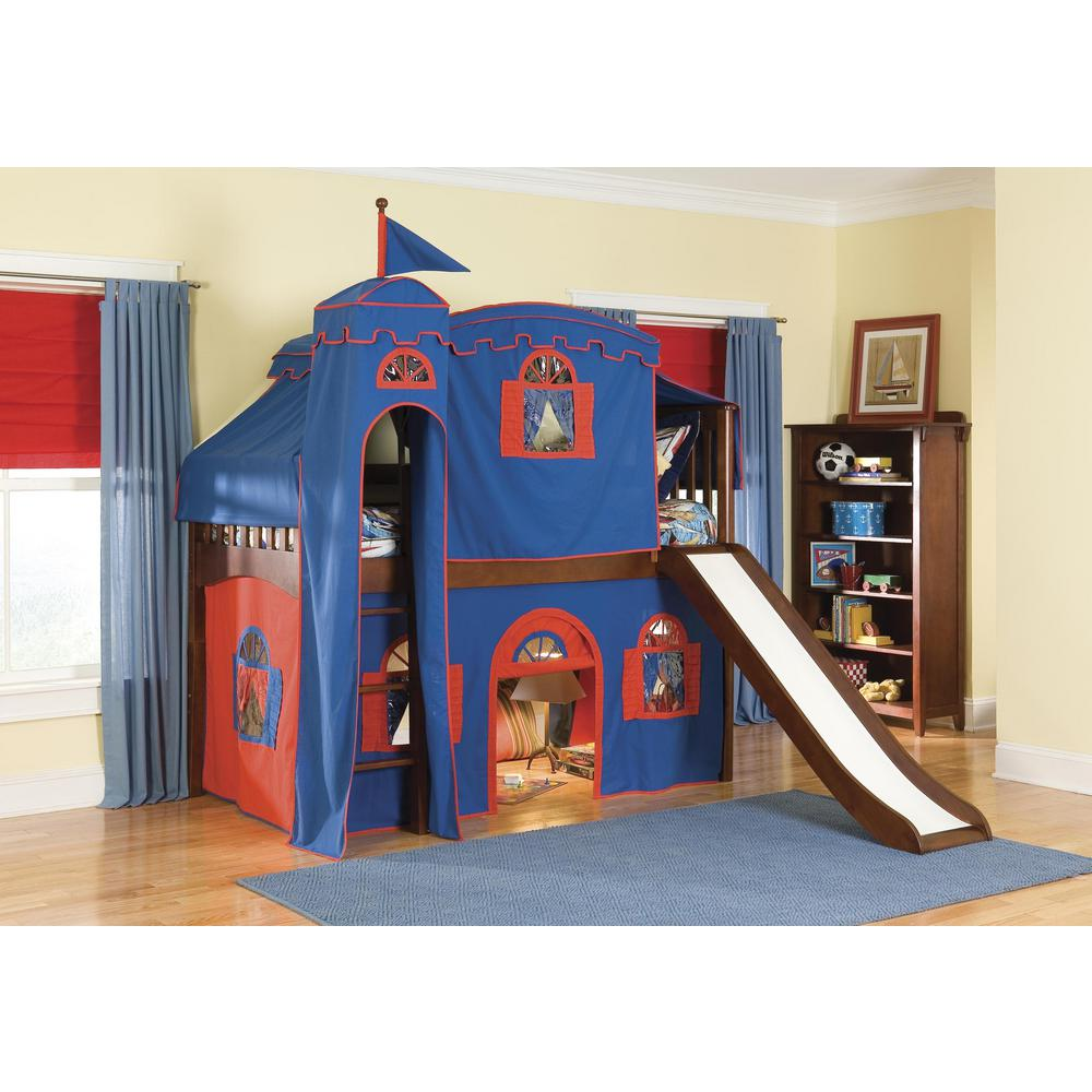 Mission Cherry Twin Low Loft Bed With Blue And Red Tower Top Tent