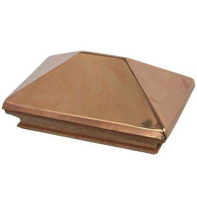 Miterless 4 in. x 6 in. Untreated Wood Flat Slip Over Fence Post Cap with Copper Pyramid