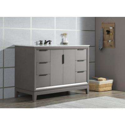 Elizabeth 48 in. Cashmere Grey With Carrara White Marble Vanity Top With Ceramics White Basins and Mirror and Faucet