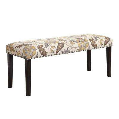 Keller Collection Floral and Cappuccino Bench